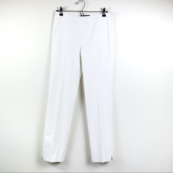 Lafayette 148 New York Bleecker Cropped Slim Pants White NWT $278